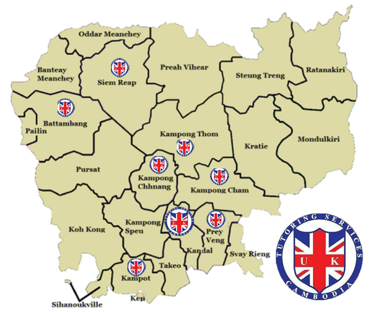 Map of UK Tutoring Services locations